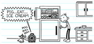 Greg sees The Heffley's Pig pulling a string from See-and-Talk