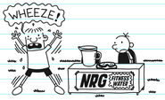 Rowley doing jumping jacks as Greg watches him during the NRG Fitness Water business