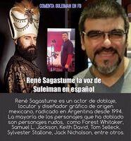 René Sagastume - personaje Su leiman en Suleimán doblaje en Polaco Audio Studio ,Argentina