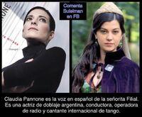 Claudia Pannone - personaje Filial en Suleimán doblaje en Polaco Audio Studio ,Argentina
