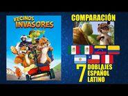 Vecinos Invasores -2006- Comparación de 7 Doblajes Latinoamericanos con Modismos - Español Latino