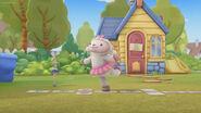 Lambie doing hopscotch