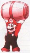 Mario Holding a Barrel