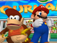 Diddy Kong & Mario in Koopa Troopa's trophy cutscene.
