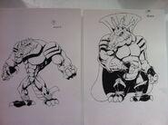 Very early concept of Krash and King K. Rool(Krudd)