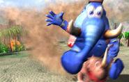 Taj sobre Rambi Rojo - Donkey Kong Racing