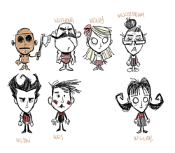 Concept art for Wilson, Willow, Wolfgang, Wendy, WX-78, Wickerbottom, and Wes.png