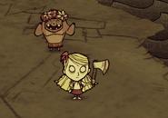 Wendy und Schwein mit Blumenkranz