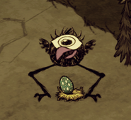 Tallbird laying an Egg