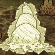 Zamrożony pajęczy kokon