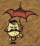 Wolfgang trzymający parasol
