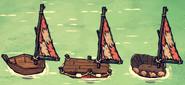 Wężoskorzy żagiel na każdej z łodzi (DSS)