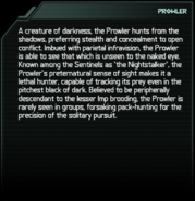 Prowler Codex Entry