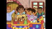 Diego, Dora and Boots on a parade float