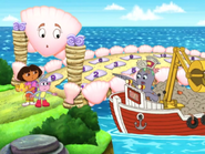 Garbage Octopus sees Dora and Boots with the magic crown