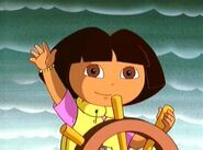 Dora sailing the boat