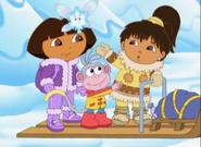 Dora paj boots and snow fairy