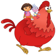Dora the Explorer Big Red Chicken Character Walking
