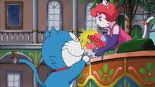 Sami được Doraemon tặng hoa.JPG