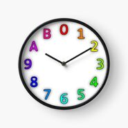 Dozenal clock with colored digits