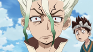 Senku and Chrome are shocked
