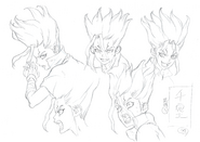 Senku Pose Shading TV Animation Design Sheet