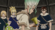 Senku gets in contact with Taiju.png