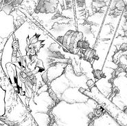 Senku using the pulley