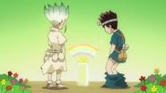 Senku and Chrome create a rainbow