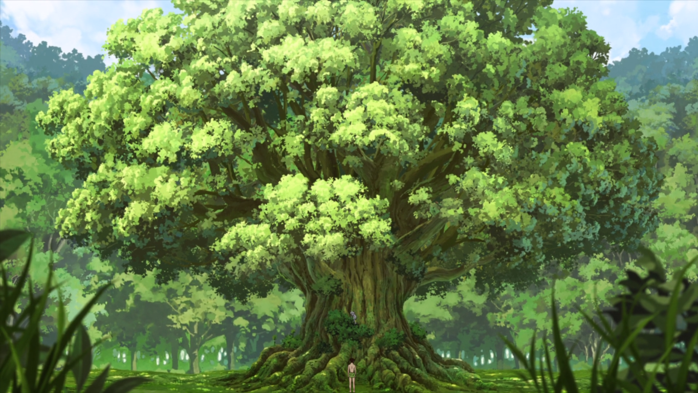 Taiju finding Yuzuriha at the Camphor Tree.png
