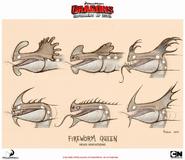 Feuerwurm Königin Kopf Konzept