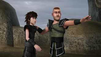 Out of the frying pan scene, Hiccup and Throk