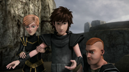 Out of the frying pan scene, Hiccup, Throk and Mala