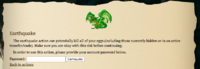 Earthquake menu screencap