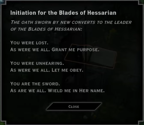 Note: Initiation for the Blades of Hessarian