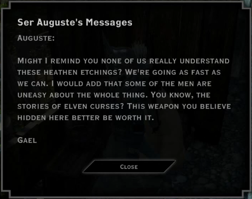 Note: Ser Auguste's Messages (Heathen Etchings)