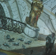 An androgynous dwarf stands beside several crushed pigeons. A gilded lion statue is visible in the center of the image.