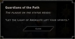 Guardians of the Path Light of Andraste Landmark Text