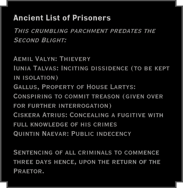Note: Ancient List of Prisoners
