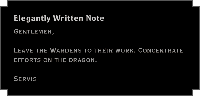 Note: Elegantly Written Note (about Wardens)