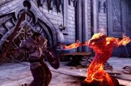 A templar fights with a demon
