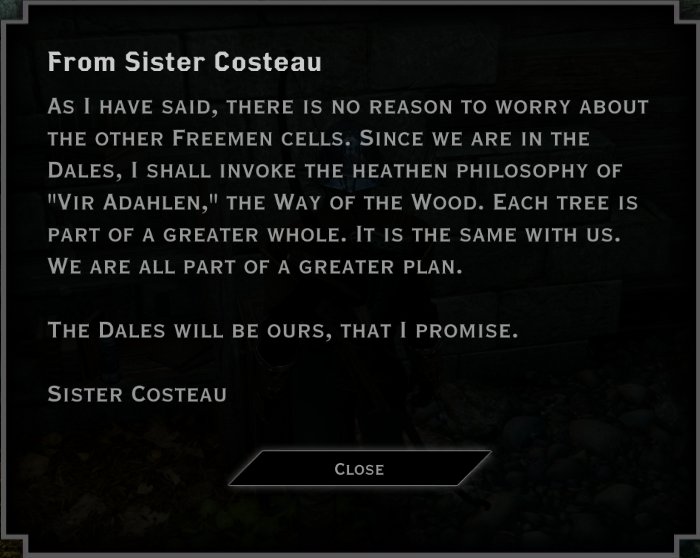 Note: From Sister Costeau (Vir Adahlen)