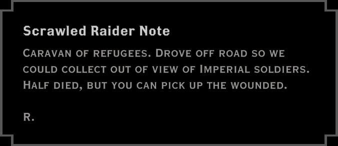 Note: Scrawled Raider Note