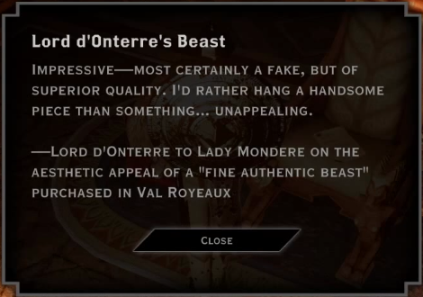 Note: Lord d'Onterre's Beast