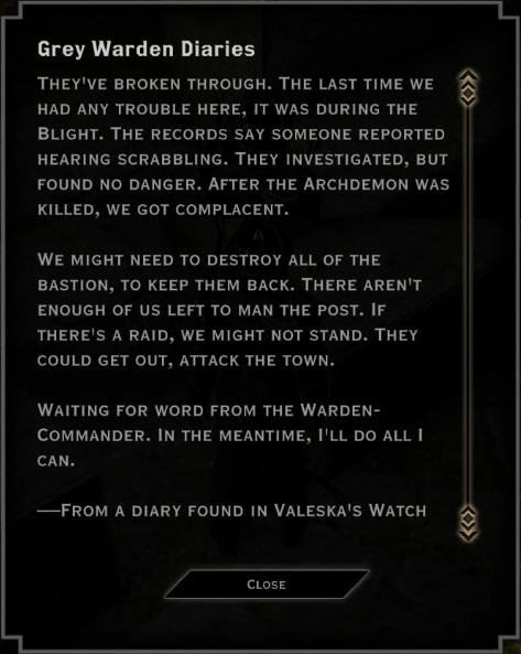 Note: Grey Warden Diaries (Valeska's Watch diary)