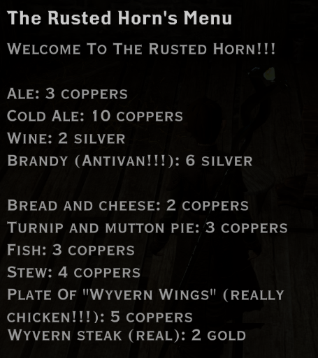 Note: The Rusted Horn's Menu