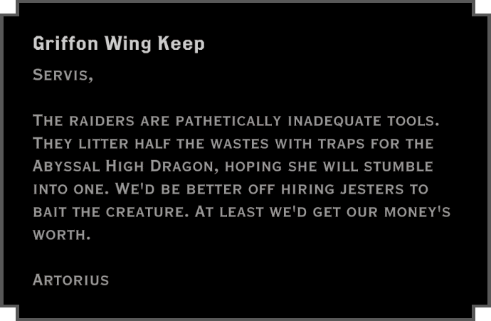 Note: Griffon Wing Keep (to Servis)