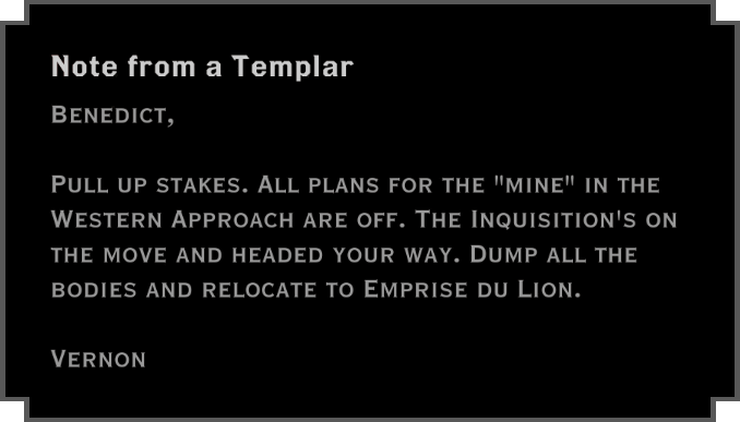 Note: Note from a Templar