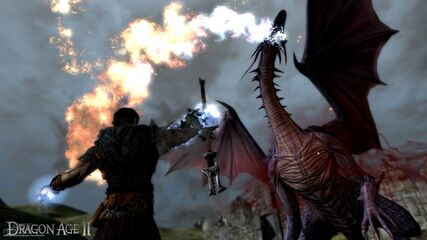 Hawke fighting a dragon
