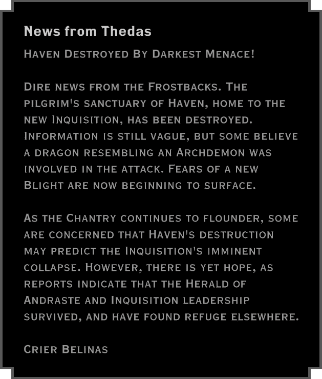 Note: News from Thedas
